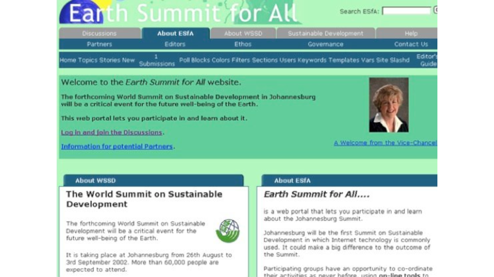 Screenshot of Earth Summit for All website